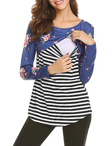 billige Dametopper-T-skjorte Dame - Stripet, Lapper Grunnleggende Svart / Blå / Rød Svart