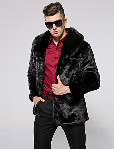 cheap Fur Coat-Men's Daily / Going out Basic Fall & Winter Regular Faux Fur Coat, Solid Colored Turndown Long Sleeve Faux Fur Black
