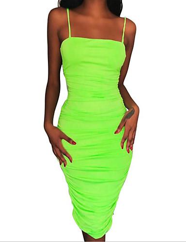 Жен. Классический Элегантный стиль Оболочка Платье - Однотонный До колена