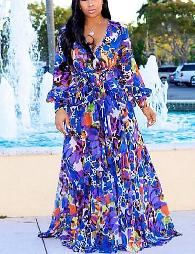levne Šaty velkých velikostí-Dámské Cikánský Šik ven Shift Swing Šaty - Květinový Pléd Maxi
