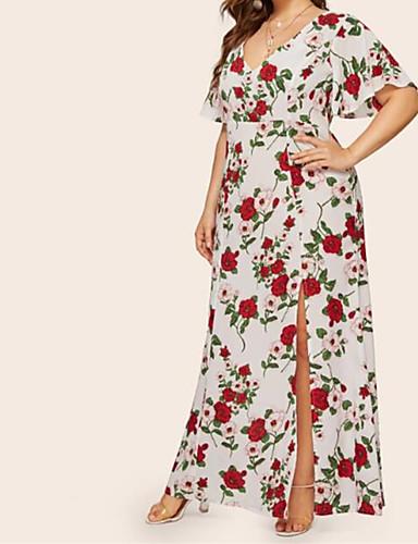 저렴한 플러스 사이즈 컬렉션-여성용 맥시 플러스 사이즈 화이트 드레스 보호 스트리트 쉬크 칼집 플로럴 V 넥 열대 잎 XL XXL 슬림