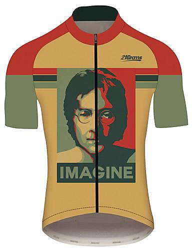 povoljno Odjeća za vožnju biciklom-21Grams John Lennon Muškarci Kratkih rukava Biciklistička majica - Red / Yellow Bicikl Biciklistička majica Majice Prozračnost Ovlaživanje Quick dry Sportski 100% poliester Brdski biciklizam biciklom