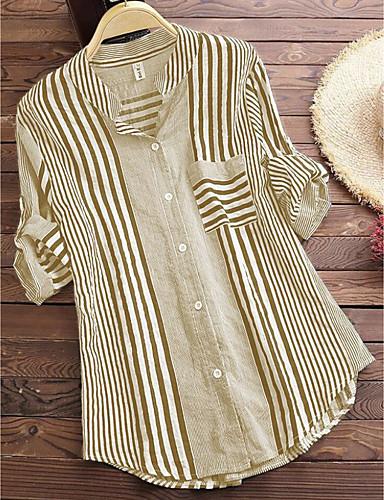 billige Dametopper-Skjorte Dame - Stripet / Geometrisk, Trykt mønster Vintage / Chinoiserie Svart