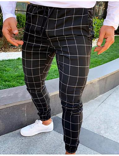 cheap Men's Clothing-Men's Basic Slim Chinos Pants - Plaid / Checkered Drawstring Black Light gray Dark Gray US34 / UK34 / EU42 / US36 / UK36 / EU44 / US40 / UK40 / EU48