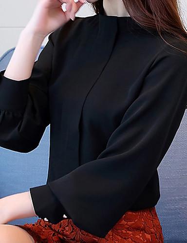 billige Skjorter til damer-Skjorte Dame - Ensfarget Elegant Svart