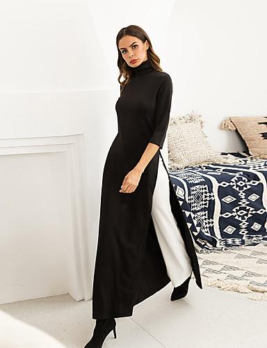 levne Maxi šaty-Dámské Cikánský Šik ven Pouzdro Abaya Šaty - Jednobarevné, Rozparek Maxi Černá Červená