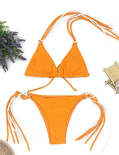 billige Dametopper-Dame Grunnleggende Bohem Rosa Oransje Grønn Trekant G-streng Bikini Badetøy - Ensfarget Blondér S M L Rosa