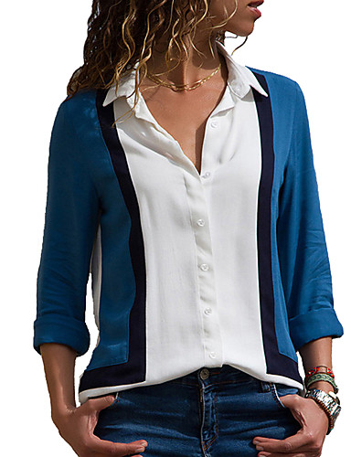 billige Dametopper-Skjorte Dame - Fargeblokk Vintage / Elegant BLå & Hvit Hvit
