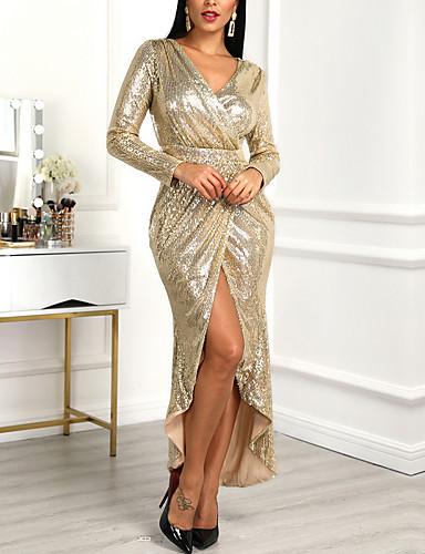 Жен. Элегантный стиль Оболочка Платье - Однотонный, Пайетки Оборки Глубокий V-образный вырез Ассиметричное