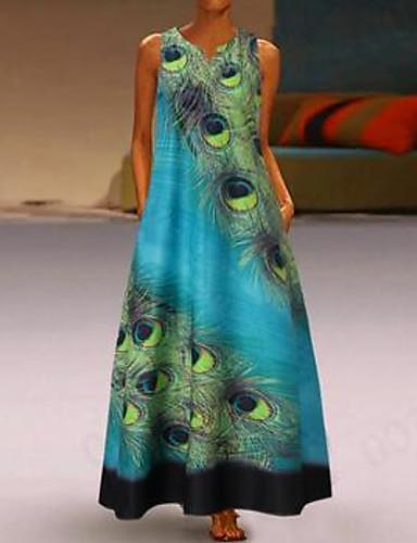 voordelige Maxi-jurken-Dames Grote maten Standaard Recht Jurk - Geometrisch, Print V-hals Maxi