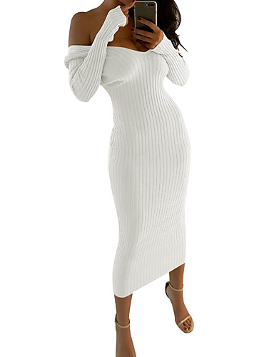 voordelige Maxi-jurken-Dames Standaard Verfijnd Schede Breigoed Jurk - Effen Gestreept, Blote rug Pailletten Geborduurd Maxi Zwart Wit