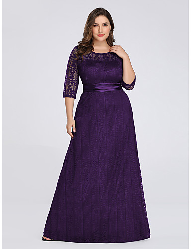 cheap Plus Size Dresses-A-Line Plus Size Purple Wedding Guest Formal Evening Dress Illusion Neck 3/4 Length Sleeve Floor Length Lace Spandex Polyester with Sash / Ribbon Lace Insert Appliques 2020 / Illusion Sleeve