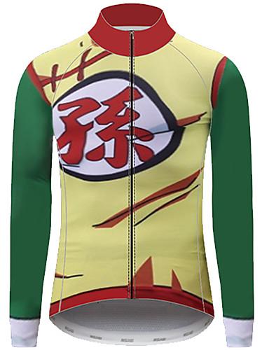 povoljno Odjeća za vožnju biciklom-21Grams Dragon Ball Kralj majmuna Muškarci Dugih rukava Biciklistička majica - Zelena  / Žuta Bicikl Biciklistička majica Majice UV otporan Prozračnost Ovlaživanje Sportski 100% poliester Brdski