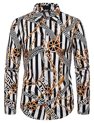 levne Pánské košile-Pánské - Barevné bloky / Grafika Elegantní / Přehnaný Košile, Flitry Bílá