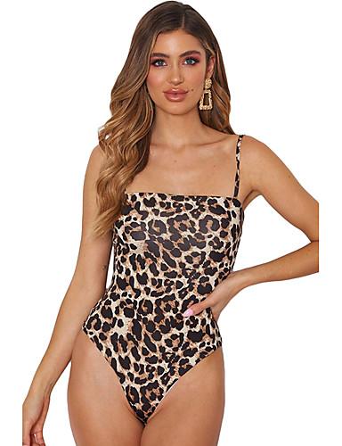 Жен. Открытая спина Сексуальные платья Боди Ночное белье Леопард / Змеиная кожа Черный Цвет радуги S M L / На бретелях