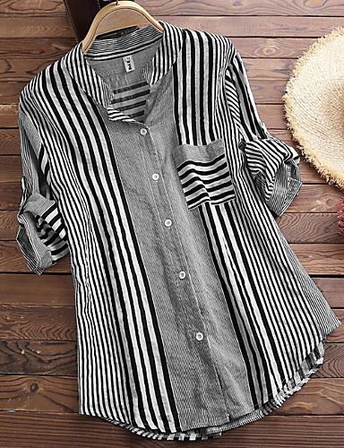billige Skjorter til damer-Skjorte Dame - Stripet / Geometrisk, Trykt mønster Vintage / Chinoiserie Svart