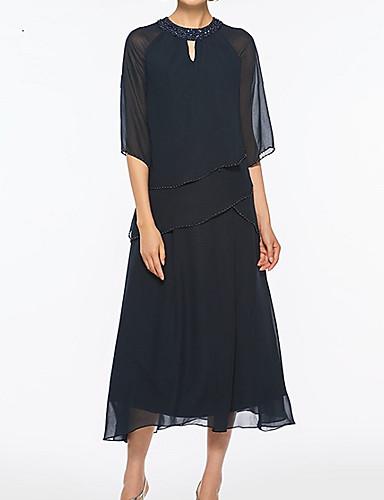 voordelige Wrap Dresses-A-lijn Met sieraad Over de knie Chiffon Bruidsmoederjurken met Kralen door LAN TING Express