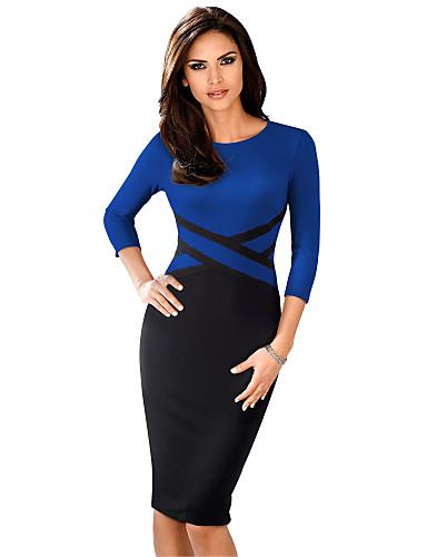 levne Pracovní šaty-Dámské Základní Sofistikované Bodycon Pouzdro Šaty - Jednobarevné Barevné bloky, Patchwork Délka ke kolenům