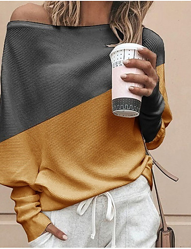 cheap Women's Clothing-Women's Color Block Long Sleeve Loose Pullover Sweater Jumper, One Shoulder White / Yellow / Blue S / M / L