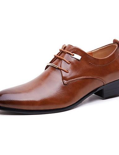 billige Oxford-sko til herrer-Herre Formell Sko PU Høst Oxfords Svart / Brun