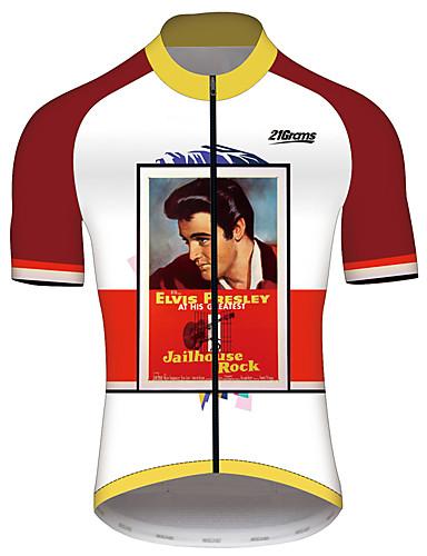 povoljno Odjeća za vožnju biciklom-21Grams Elvis Presley Muškarci Kratkih rukava Biciklistička majica - Red / White Bicikl Biciklistička majica Majice Prozračnost Quick dry Reflektirajuće trake Sportski 100% poliester Brdski