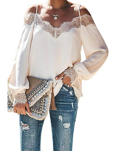 billige Skjorter til damer-Skjorte Dame - Ensfarget, Blonde Grunnleggende Svart