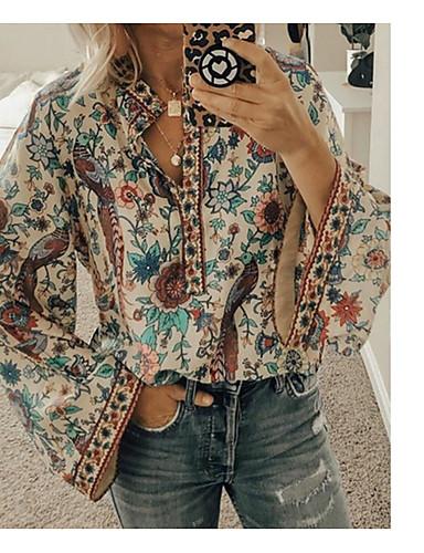 billige Skjorter til damer-Skjorte Dame - Geometrisk Oransje