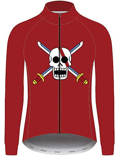 povoljno Odjeća za vožnju biciklom-21Grams One Piece Muškarci Dugih rukava Biciklistička majica - Crvena Bicikl Biciklistička majica Majice UV otporan Prozračnost Ovlaživanje Sportski 100% poliester Brdski biciklizam Odjeća