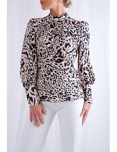 billige Dametopper-Skjorte Dame - Leopard, Åpen rygg Forretning / Grunnleggende Beige