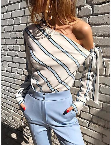 billige Skjorter til damer-Skjorte Dame - Stripet, Blondér Elegant Hvit