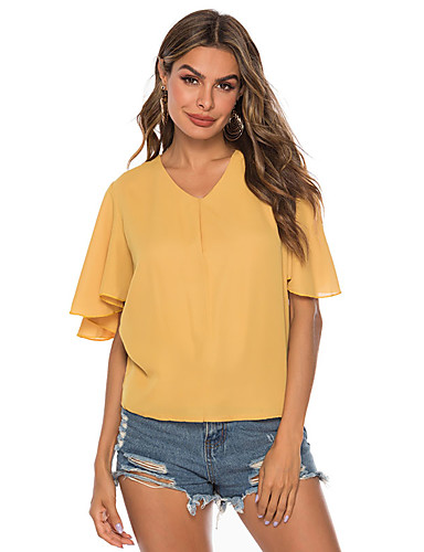 billige Dametopper-Skjorte Dame - Ensfarget, Drapering / Lapper Grunnleggende Gul