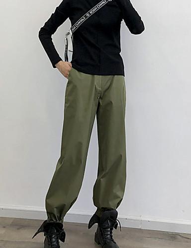 Жен. Классический Чино Брюки - Однотонный Военно-зеленный Хаки M L XL