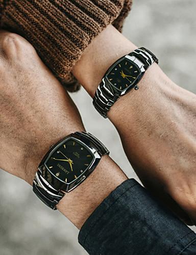 Casal Relógios de aço Quartzo Estilo Moderno Fashion Preta / Marrom 30 m Cronógrafo Criativo Luminoso Analógico Casual Minimalista - Preto Prata Dois anos Ciclo de Vida da Bateria