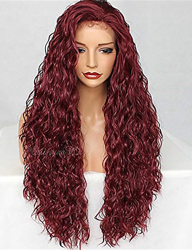 povoljno Perike s ljudskom kosom-Remy kosa Lace Front Perika stil Brazilska kosa Water Wave Burgundac Perika 130% Gustoća kose Žene Srednja dužina Perike s ljudskom kosom beikashang