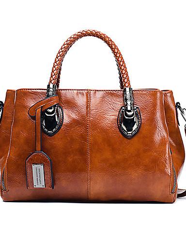 preiswerte Elegante Damen-Handtaschen-Damen Leder Tasche mit oberem Griff Volltonfarbe Schwarz / Braun / Wein / Herbst Winter