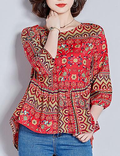 billige Dametopper-Bluse Dame - Geometrisk, Flettet / Trykt mønster Bohem Rød