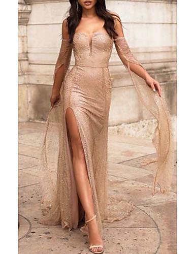 levne Maxi šaty-Dámské Základní Pouzdro Šaty - Jednobarevné, Rozparek Patchwork Krajka Trim Délka ke kolenům