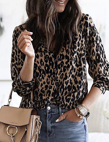 billige Skjorter til damer-Skjorte Dame - Leopard, Lapper Grunnleggende Kamel