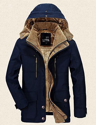 levne Pánské kabáty a parky-Pánské Jednobarevné S vycpávkou, Polyester Námořnická modř / Hnědá / Trávová zelená US34 / UK34 / EU42 / US36 / UK36 / EU44 / US38 / UK38 / EU46