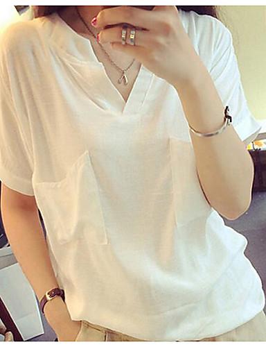 billige Dametopper-T-skjorte Dame - Ensfarget, Lapper Grunnleggende / Gatemote Hvit