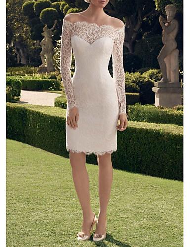 cheap Wedding Dresses-Sheath / Column Off Shoulder Short / Mini Lace Long Sleeve Vintage See-Through / Illusion Sleeve Wedding Dresses with Lace Insert 2020