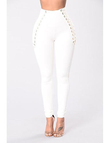 Mulheres Básico Legging - Sólido, Fenda Cintura Alta Branco Preto S M L