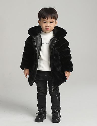 preiswerte Mode für Jungs-Kinder Jungen Grundlegend Solide Standard Kunst-Pelz Jacke & Mantel Schwarz
