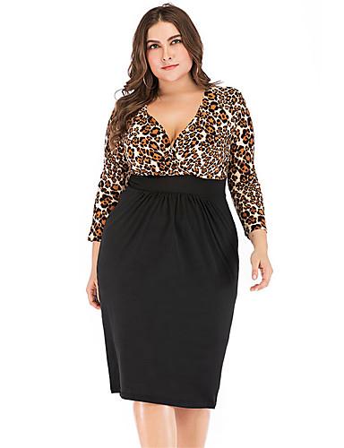 levne Šaty velkých velikostí-Dámské Základní Pouzdro Šaty - Jednobarevné Leopard, Patchwork Délka ke kolenům