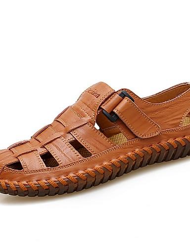 cheap Men's Shoes Hot Sale-Men's Comfort Shoes Summer Casual / Roman Shoes Daily Sandals Walking Shoes Leather Breathable Yellow / Brown / Black