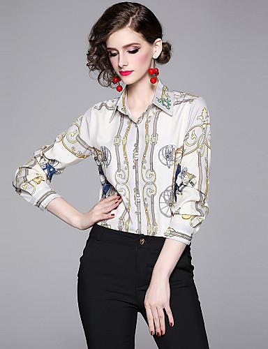 billige Skjorter til damer-Skjorte Dame - Grafisk, Trykt mønster Vintage / Elegant Lyseblå