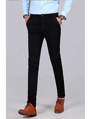 preiswerte Herren-Hosen und Shorts-Herrn Grundlegend Anzüge Hose - Solide Schwarz Marineblau US40 / UK40 / EU48 US42 / UK42 / EU50 US44 / UK44 / EU52