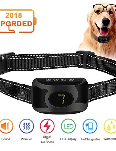 preiswerte Spielzeug & Hobby Artikel-Anti Bark Collar wiederaufladbar regendicht No Bark Training Collar Beep Vibrationsschock Modi Anti Bark Collar Stop Pet Produkt