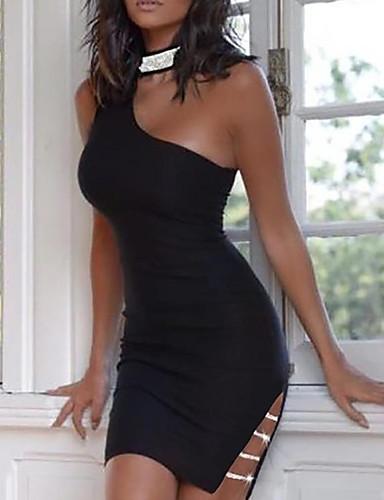 cheap Sexy Dresses-Women's Bodycon Dress - Solid Colored Black S M L XL