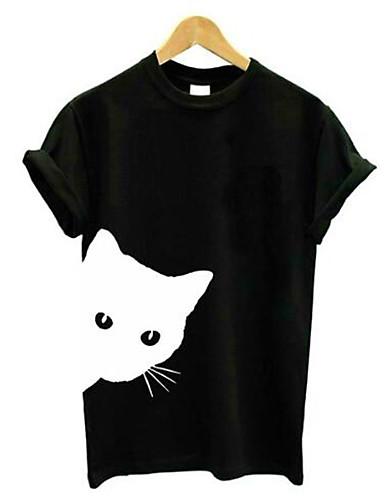 billige Topper til damer-T-skjorte Dame - Ensfarget / Dyr, Lapper Grunnleggende Katt Svart